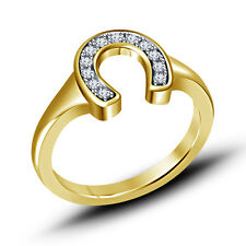 New Yellow Gold Plated 925 Sterling Silver Wonderful Horseshoe Ring For Women