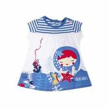 White Blue Surplus Printed dress for Baby Girl