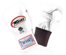 Twins Special Muay Thai Boxing Gloves Premium Leather w/ Elastic White BGEL