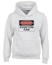 Felpa hoodie bambino WC0291 DANGER EVERTON FAN, FOOTBALL FUNNY FAKE SAFETY SIGN