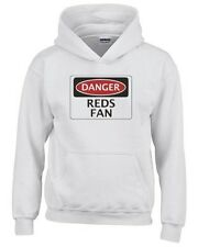 Felpa hoodie bambino WC0307 DANGER REDS FAN, FOOTBALL FUNNY FAKE SAFETY SIGN