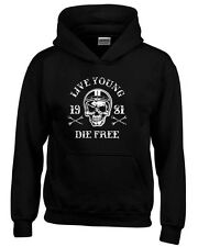 Felpa hoodie bambino TB0352 motorcycle racing skull and old school bike
