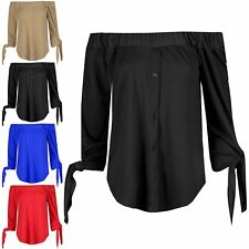 Womens Crepe Off Shoulder Curved Hem Ladies 3/4 Tie Sleeve Buttons T Shirt Top