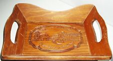 Vintage WOOD Serving Tray GIVE US THIS DAY OUR DAILY BREAD Farmer w/Scythe 70's
