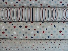 Natural Linen Look / Canvas Fabric Hearts Spots Stars Stripe - Blue Grey Berry