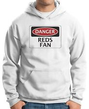 Felpa Hoodie WC0307 DANGER REDS FAN, FOOTBALL FUNNY FAKE SAFETY SIGN