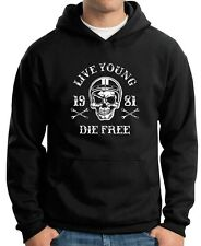 Felpa Hoodie TB0352 motorcycle racing skull and old school bike