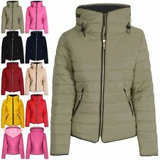 Ladies Womens Padded Quilted Puffer Bubble Faux Fur Collar Hooded Jacket Coat