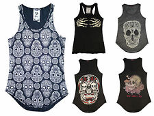 Womens Ladies Skull Skeleton Haloween Print Top Shirt Vest Sleeveless  UK 8 14