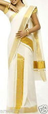 KERALA SAREE HANDLOOM COTTON KASSAVU SET MUNDUM WITH GOLDEN KASSAVU BORDER/KARA