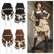 RQ-BL SP167 Victorian Gothic Steampunk Layered With Pocket And Straps Lace Skirt