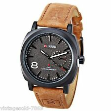 2017 New Fashion Curren Brand Leather Strap Military wrist Watch