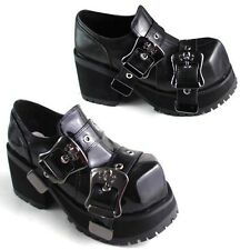 Platform Emo Cyber Anime Cosplay Goth Punk Rock Chick Double Skull Buckle Shoes