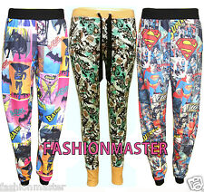 WOMENS NEW LADIES COMIC SUPERMAN BATMAN BLOCK PRINT HAREM BAGGY TROUSER PANTS