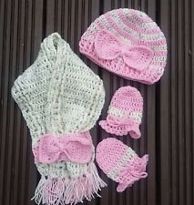 CROCHET NEWBORN BABY GIRLS HAT 0-3 MONTHS MITTENS SCARF SET knit pink cream prop