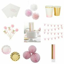 Pink & Gold 'We Heart Pink' Party Tableware - Girls Birthday