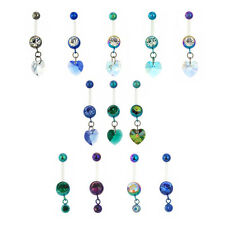 Bioplast Titanium Gem Comfort Belly Navel Bar with Crystal Heart Ball 1.6mmx10mm
