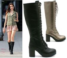 WOMENS LADIES COMBAT ARMY MILITARY LACE UP MID HEEL KNEE HIGH BOOTS SHOES SIZE