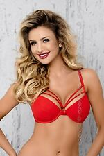Erotic Push Up Cups Red Colour Bra Strips Lingerie Woman V-7011 Breva Axami New