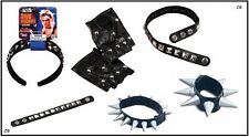 CHOKER BRACELET GLOVES Fancy dress YMCA biker PUNK Spike Stud Rocker Costume