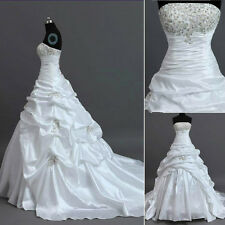 New Stock Taffeta White / Ivory Wedding Dress Bridal Gown Size: 6/8/10/12/14/16+