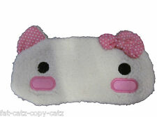 CUTE HELLO KITTY FAUX FURRY EYE TRAVEL SLEEPING COVER MASK PATCH 2DESIGNS UKSELL