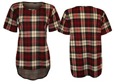New Womens Cheap Dipped Hem Hi Lo Back Curved Tartan Check Smart Top Tunic Dress