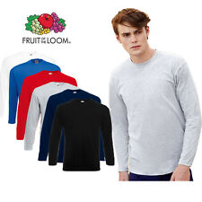 Men's Fruit of the Loom Long Sleeve Cotton T Shirt 6 Colours Size S-2XL