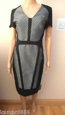 New M&S Per Una Speziale Black & White Silver Dress Sz UK 8 & 10