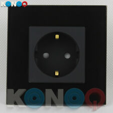 KONOQ Luxury Glass Panel 1 Gang German/EU 16A Wall Single Plug Socket