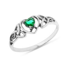 0.20 Carat Lab-Created Emerald Celtic Trinity Knot Heart Ring in Sterling S