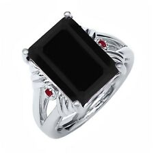 7.40 Ct Octagon Black Onyx Red Ruby 925 Sterling Silver Ring