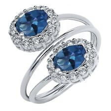 2.68 Ct Oval Royal Blue Mystic Topaz 925 Sterling Silver Ring
