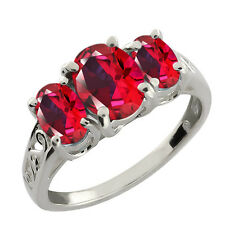 2.50 Ct Blazing Red 925 Sterling Silver Ring Natural Topaz Cut by Swarovski