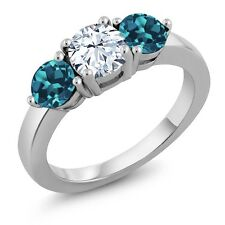 2.30 Ct White Created Sapphire London Blue Topaz 925 Sterling Silver Ring