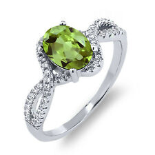 1.91 Ct Oval Green Peridot 925 Sterling Silver Ring