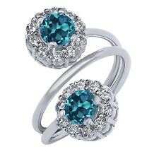 1.70 Ct Round London Blue Topaz 925 Sterling Silver Ring