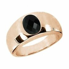 1.12 Ct Oval Checkerboard Black AAA Onyx 925 Rose Gold Plated Silver Men's