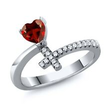 0.72 Ct Heart Shape Red Garnet 925 Silver Cross Ring