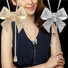 New Arrival Elegant Womens Long Statement Necklace Rhinestone Crystal Bow Pendan