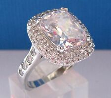 QVC Diamonique Cluster Cocktail Sterling Silver Ring sz. P /8  New