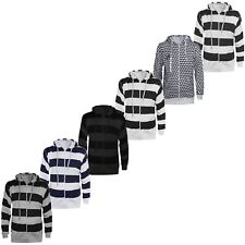 MENS STRIPE / CUBE HOODED HOODIES SWEATSHIRT PRINT ZIP UP TOP JUMPER HOODY S-2XL