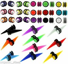 Magnet Taper or Disc Cheater NEON Fake Stretcher Ear plug 8 colours Non Pierced