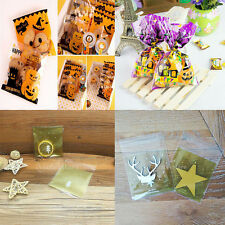 100pcs Christmas Tree Snow Sweet Cello Snack Cookie Candy Biscuit Bag Gift