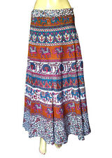 Elephant & Peacock Womens Wear Long Wraparound Skirt Cotton Hademade Print Dress