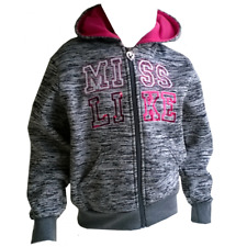 Sweat zippé à capuche fille Miss Like gris Taille de 4 à 14 ans