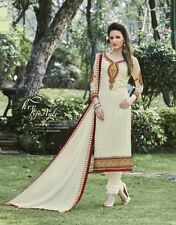 Cream Georgette Brasso Embroidered Dress Material (Muskan-59)