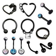 Black Injecto Septum Ring Tragus Gem Stud BCR Daith Heart Horseshoe Belly Bar