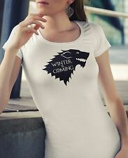 Womens Winter is Coming T-Shirt - Game of Thrones Funny Gift Novelty Geek Nerd