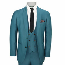 Mens 3 Piece Teal Blue Shawl Lapel Slim Fit Vintage Smart Tux Suit Wedding Prom